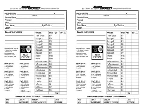 youth sports photography templates youth sports photography order form 12 team order form