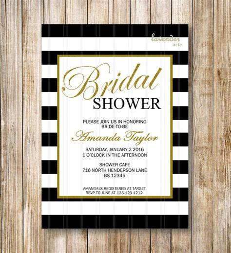 Black And White Stripes Bridal Shower Invitation Coco Chanel Inspired Invite Hens Party Chanel Invitation Template