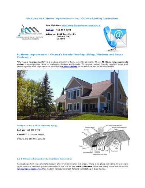 fl home improvements inc ottawa roofing contractors