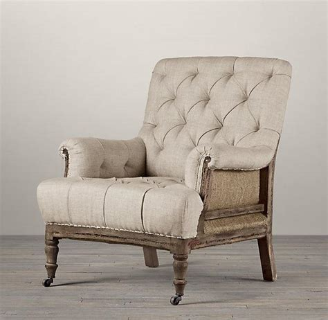 restoration hardware armchair deconstructed ivory burlap tufted roll arm chair