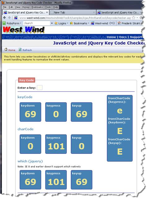 javascript keycode tutorial a key code checker for dom keyboard events rick strahl s