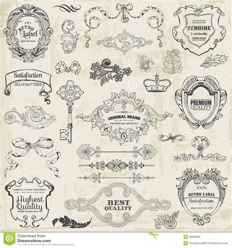 calligraphic design elements and page decoration vector set calligraphic design elements and page decoration stock