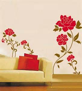 Red Wall Stickers Wall Stickers Red Flower Plant By Walltola Online