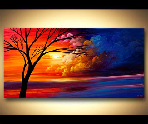libro abstract art basic art painting colorful heaven tree landscape painting 6198