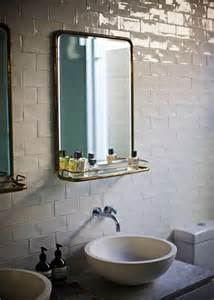 mirrors with shelves for the bathroom crackled subway tile eclectic bathroom