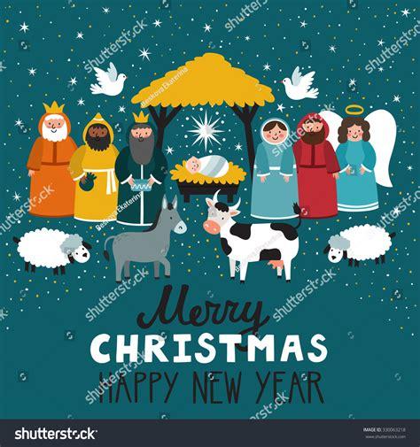 traditional christmas scene vector background nativity stock vector  shutterstock