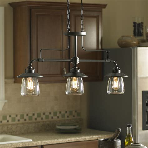 lighting fixtures kitchen island shop allen roth bristow 36 in w 3 light mission bronze kitchen island light with clear shade