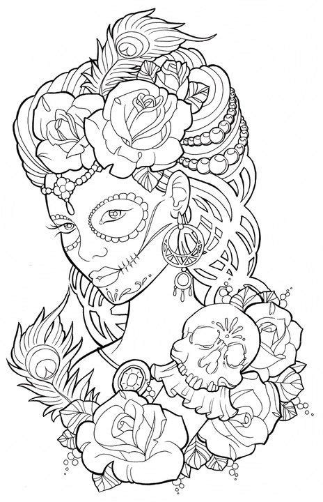 skull face coloring page beautiful sugar skull maiden colouring page jeux