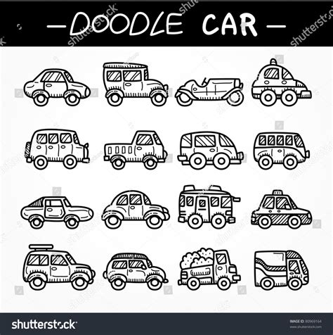 doodle car combination doodle car icon set stock vector illustration