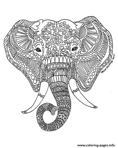 elephant coloring pages to print for adults best adult printable elephant difficult hard zen coloring