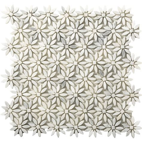 Emser Tile Marble Daisy Mosaic Winter Frost