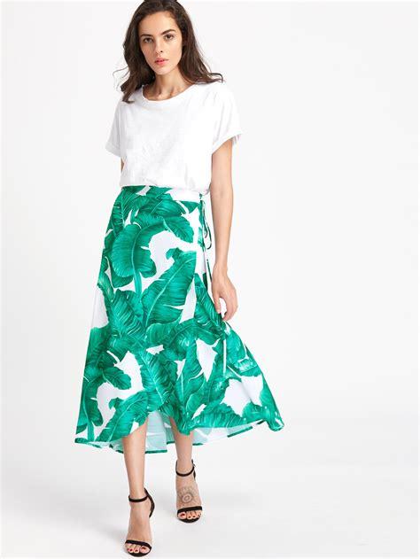 Dress Anak Layer Motif Leaves palm leaf print wrap skirt shein sheinside