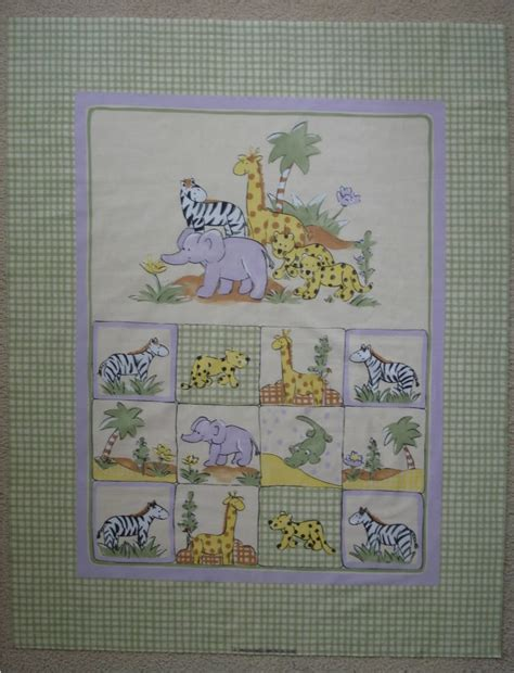 Cot Quilt Panels lillysroom cot quilt panel jungle animals