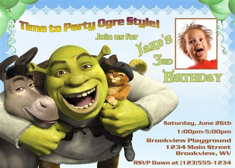 Shrek Birthday Card Personalized Photo Invitations Cmartistry Shrek Donkey