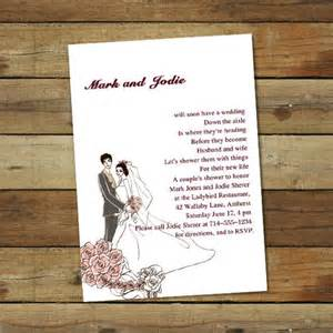 custom pink coed couples wedding shower invitations