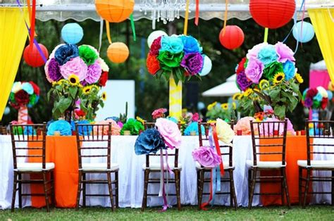 Colorful Garden Decor Colorful Hanging Paper Flowers And Paper Lanterns Colorful Garden Wedding Decoration