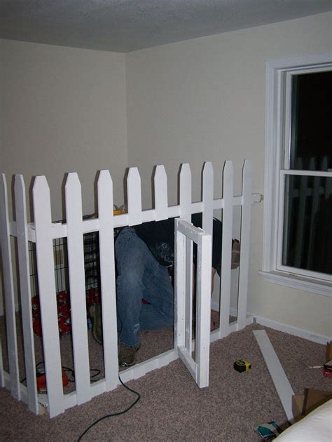 puppy crate in bedroom or not dog quot crate quot in the corner of our bedroom picket fencing with swing gate used ideas