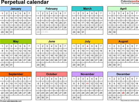 one year calendar template perpetual calendars 7 free printable pdf templates