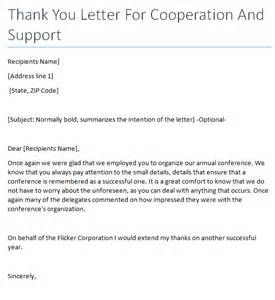 Business Letter Sle Cooperation Thank You Letter For Cooperation Writing Professional Letters