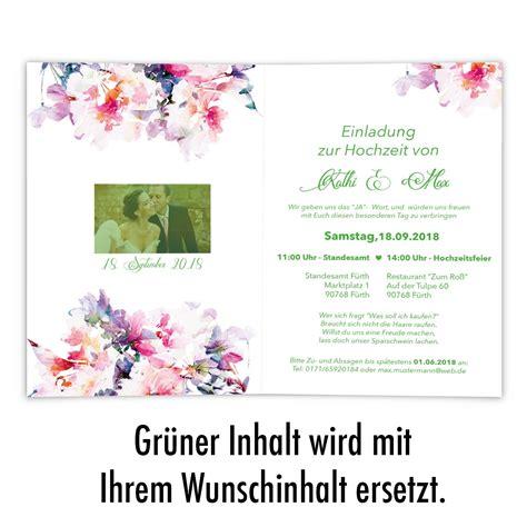 Hochzeitseinladung Aquarell by Hochzeitseinladungen Mit Aquarell Blumenmotiv Bestellen