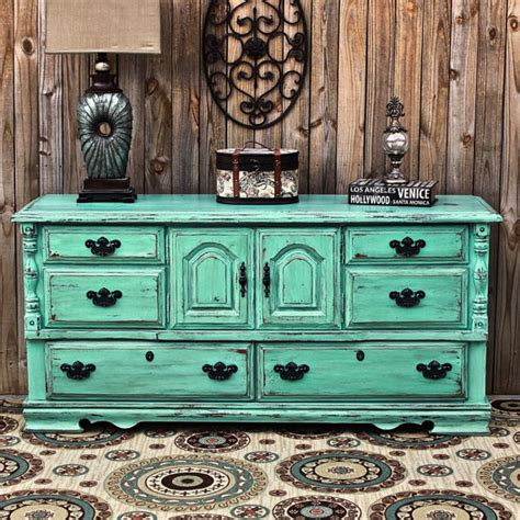 Shabby Chic Turquoise Dresser by Aqua Dresser Distressed Buffet Shabby Chic By