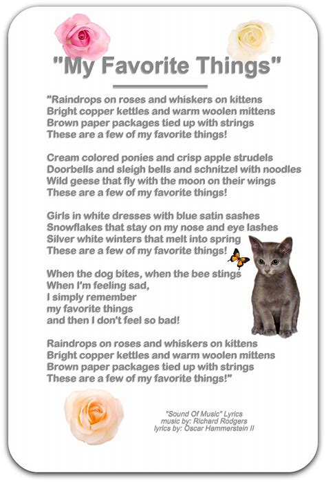 7 Of My Favorite by Quot My Favorite Things Quot My Favorite Things Lyrics From The