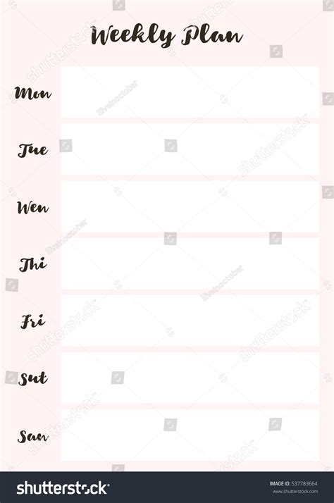 daily planner template vector minimal weekly planner vector template printable stock