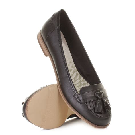 womens clarks slice flat leather loafer smart
