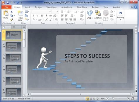 Animated Steps To Success Powerpoint Template Success Powerpoint Templates Free