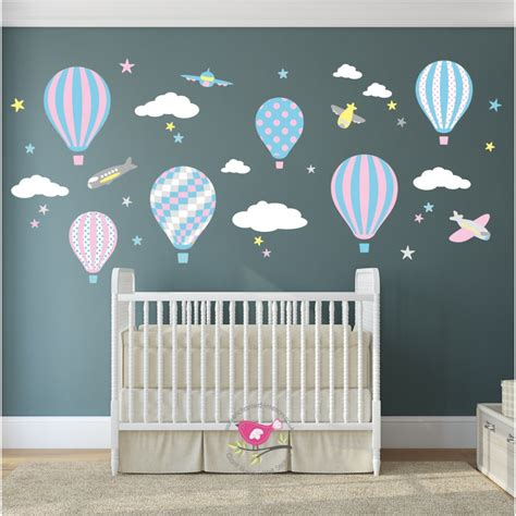 Pink Wall Decals For Nursery Air Balloon Jets Wall Stickers