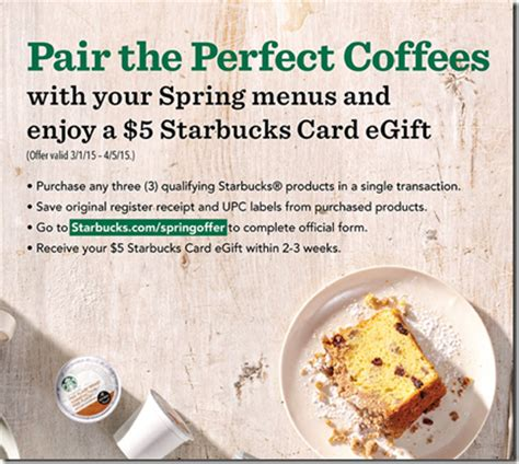 Starbucks 5 Gift Card Buy 3 - buy 3 starbucks products at grocery store get 5 starbucks gift card
