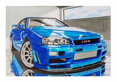 nissan skyline drawing nissan skyline gt r 34 by stephen59300 on deviantart