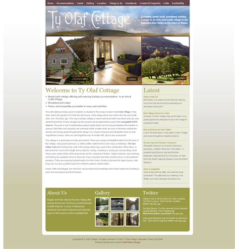 cottage websites ty olaf cottage website mid wales design
