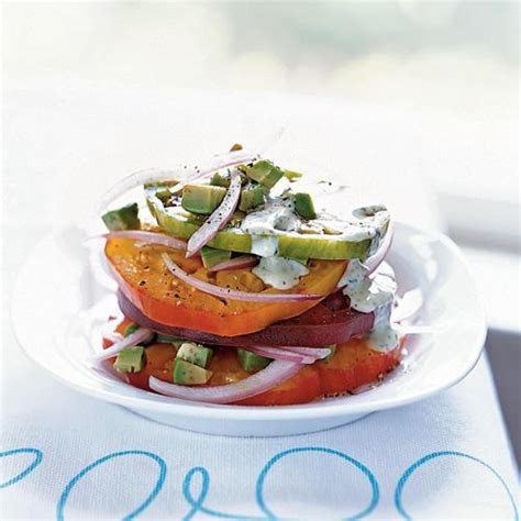 cooking light appetizers heirloom tomato and avocado stack summer appetizers