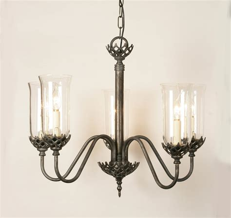 Clear Glass Chandelier Shades Gothic Solid Brass 5 Light Pendant With Clear Glass Shades