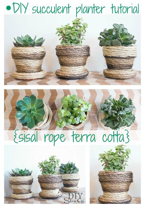 how to make a succulent planter diy sisal rope planters diy show off diy decorating