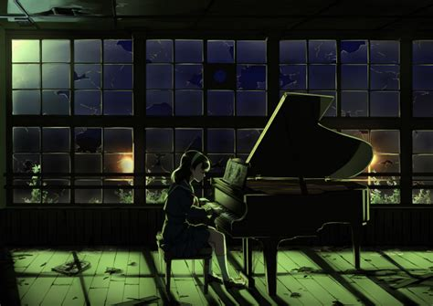wallpaper anime girl playing piano night broken glass