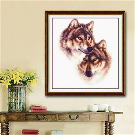 wolf home decor 42x45cm diy cross stitch kit embroidery wolf totem home