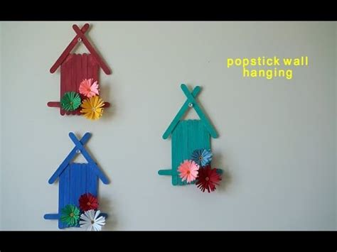 How To Make Handmade Wall Hanging - popsicle sticks wall hanging with handmade paper flower