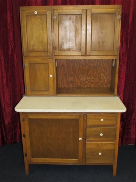 Kitchen Bakers Cabinet by Lot Detail Vintage Wood Hoosier Cabinet With Flour Bin