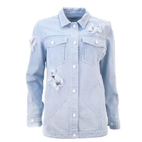 light blue denim jean jacket lyst juliana herc light blue denim jacket in blue