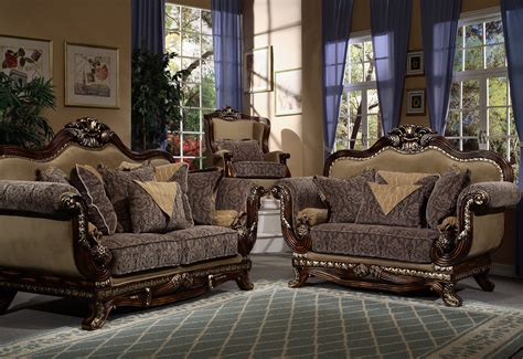 Elegant French Style Couch   Upholstered Sofa with Wood Trim Living Room Furniture Set 5124