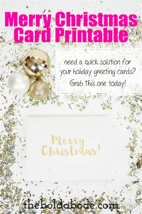 gold foil merry christmas card printable