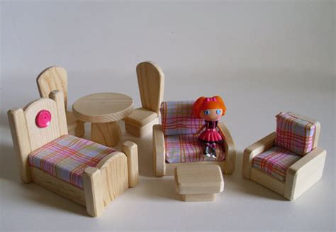 Handmade Doll Furniture - mini lalaloopsyscale doll wood 7piece by