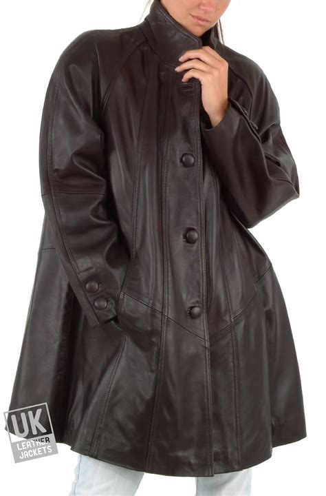 Womens Leather Swing Coat Black Or Brown Plus Size