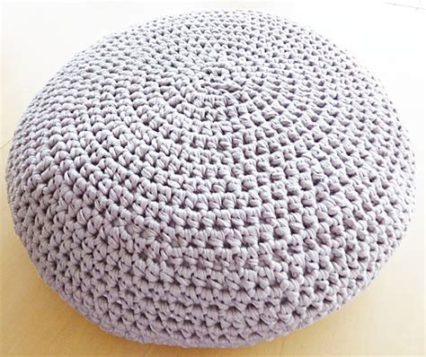 Crochet Pouf Ottoman Pattern How To Make Yarn Out Of Plactic Bags T Shirts And Sheets Oh You Crafty Gal