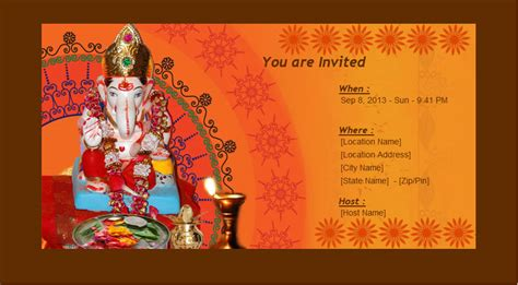 pooja invitation card template enimantran festivals ganesh chaturthi invitation cards