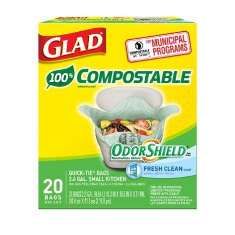 small kitchen trash bags glad odorshield small kitchen compostable trash bags 2 6