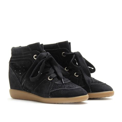 wedge sneakers black marant bobby wedge suede sneakers in black lyst