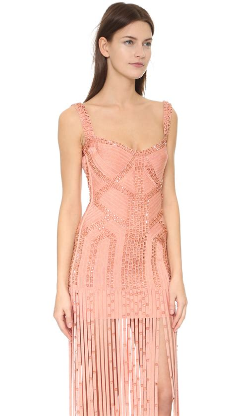 Kung Souvenir Dress Bolong Rayon Pink 1 lyst herv 233 l 233 ger sleeveless fringe gown in pink